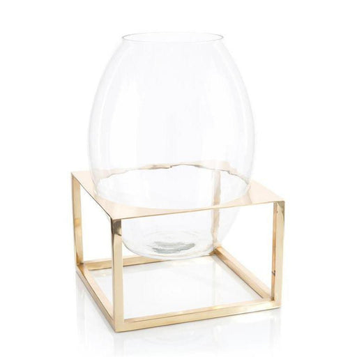 John Richard Glass Container in Brass Stand