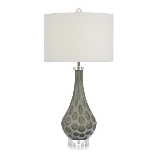 John Richard Carved Glass Teardrop Table Lamp in Grey