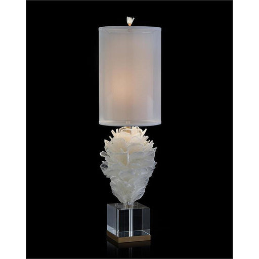 John Richard Windowpane Selenite Bloom Table Lamp