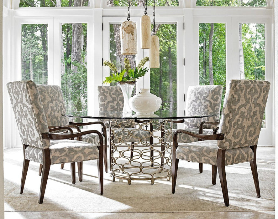 Lexington Laurel Canyon Bollinger Round Dining Table With Glass Top