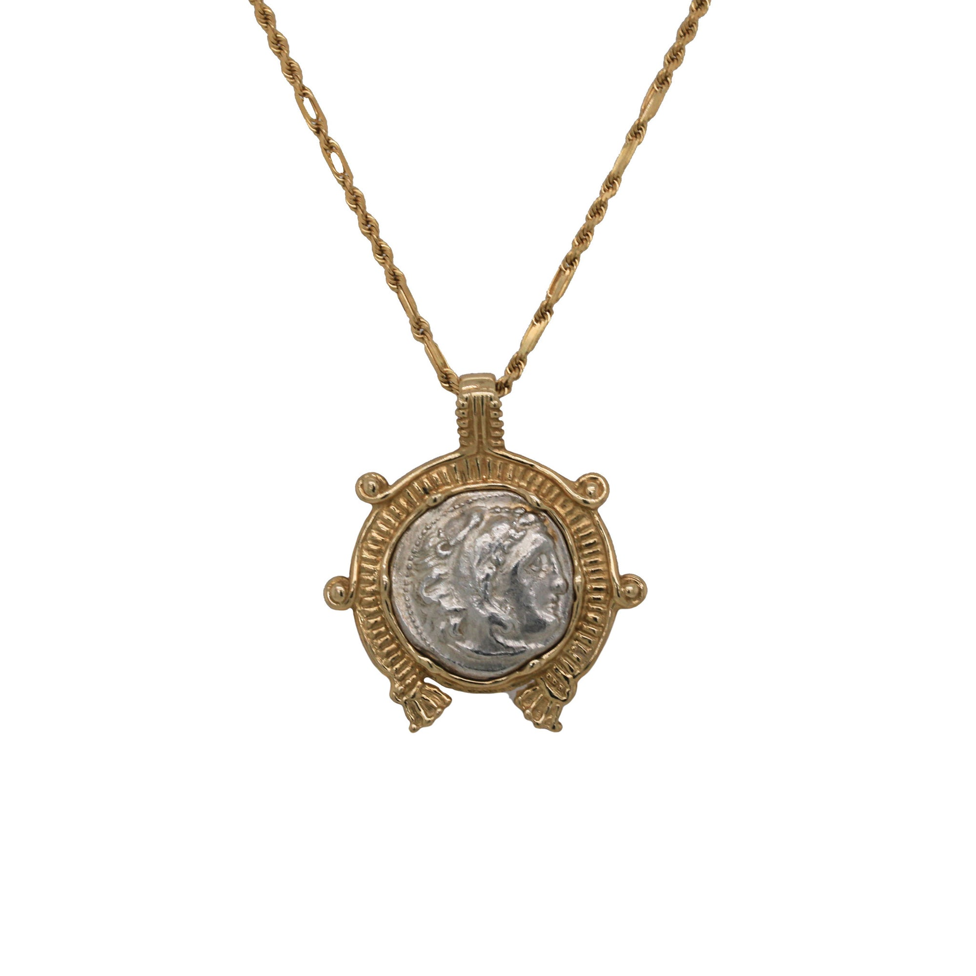 Alexander the Great Silver Drachm Coin 14K Necklace
