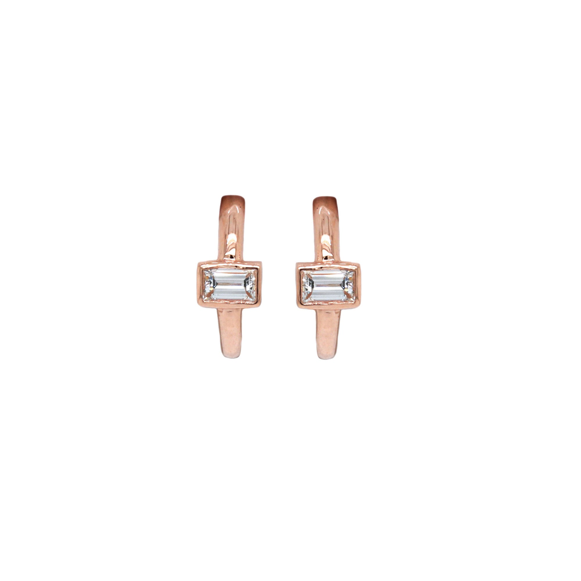 Baguette Cut Diamond Hoops