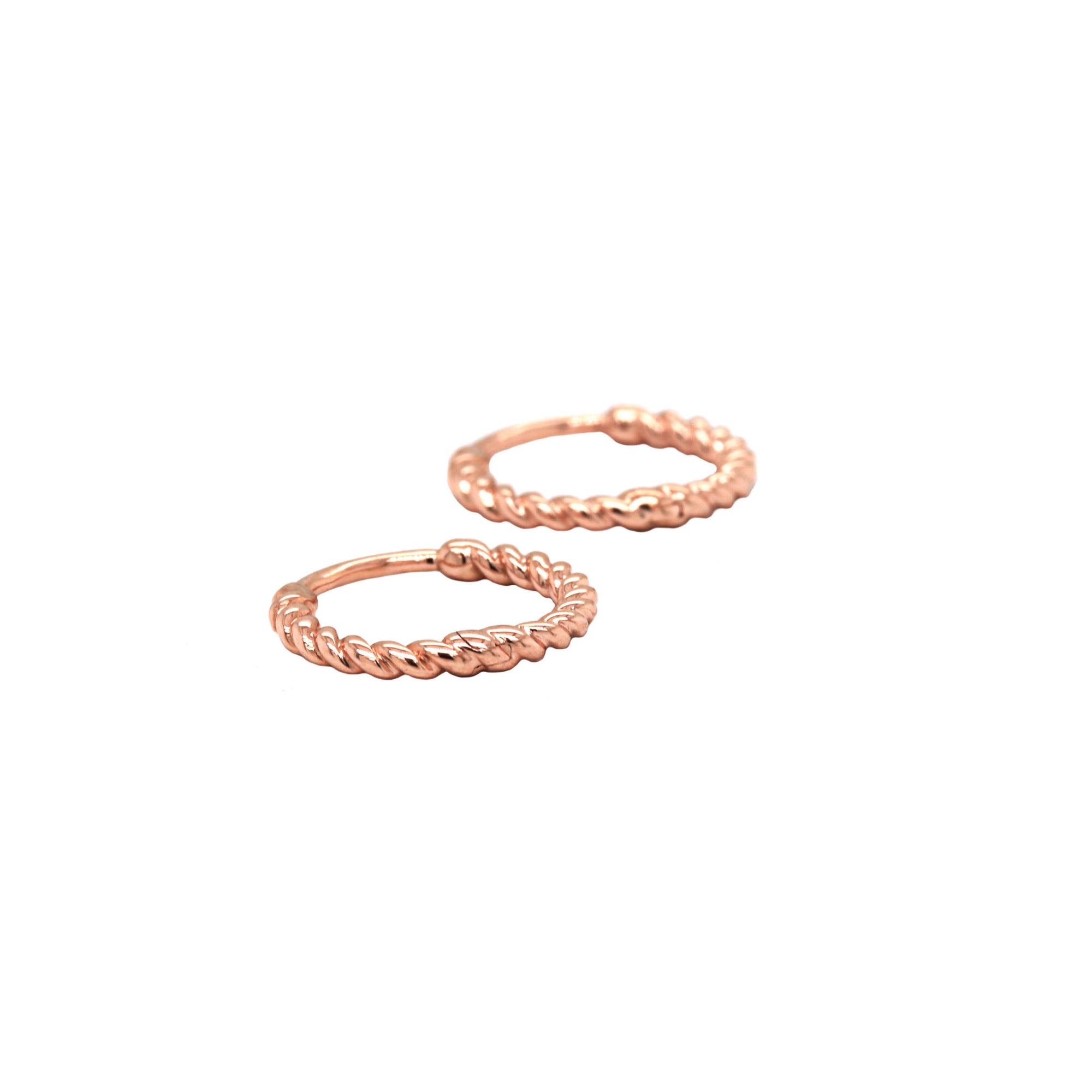 Twisted Rope Rose Gold Hoops