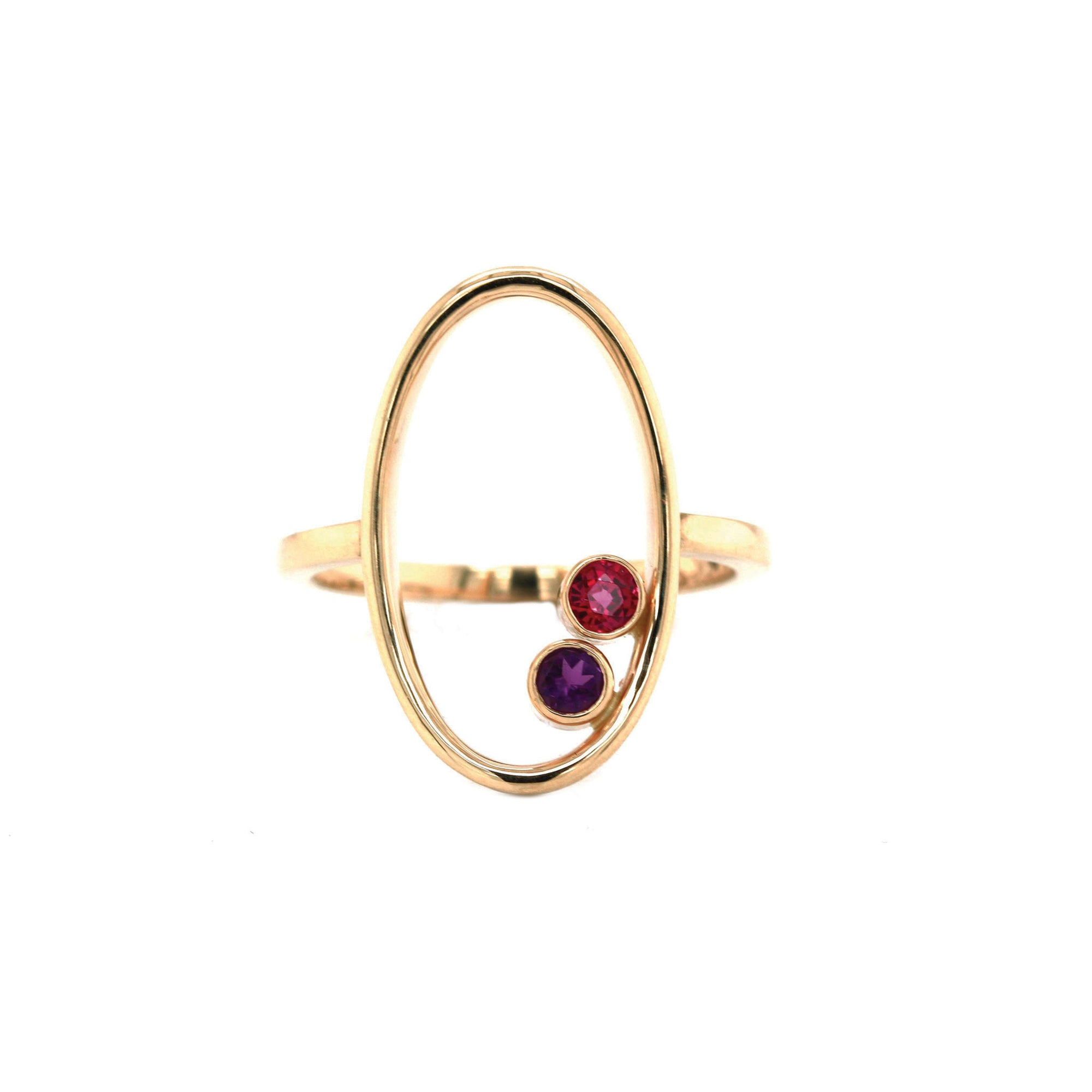 Amethyst & Ruby 14K Yellow Gold - The Zuri Ring