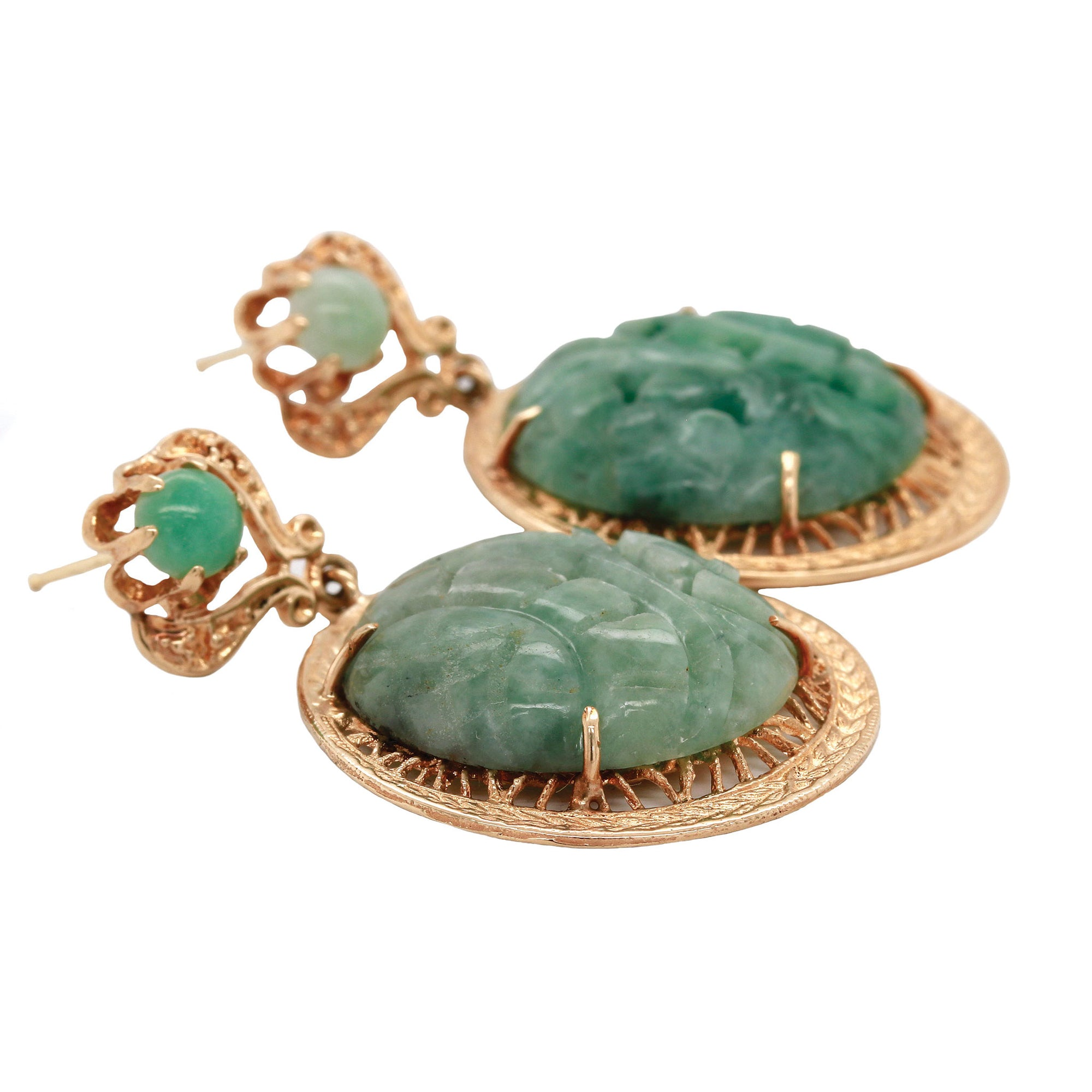 Carved Jade Yellow Gold Earrings