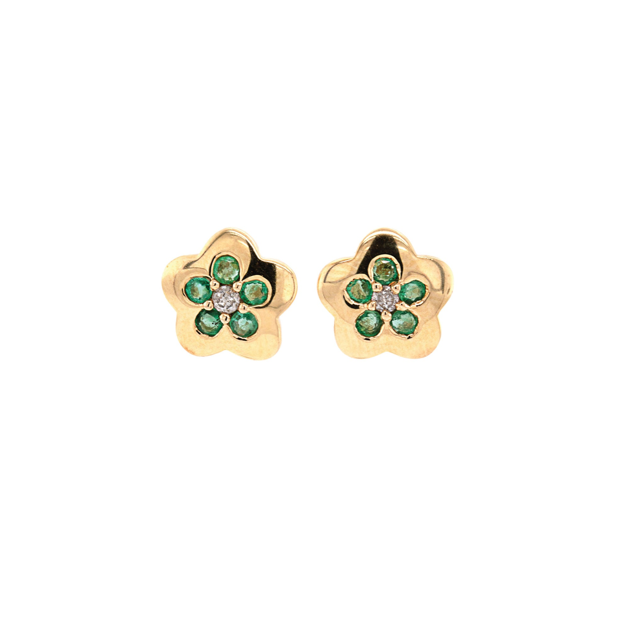 Gold Star Emerald Studs