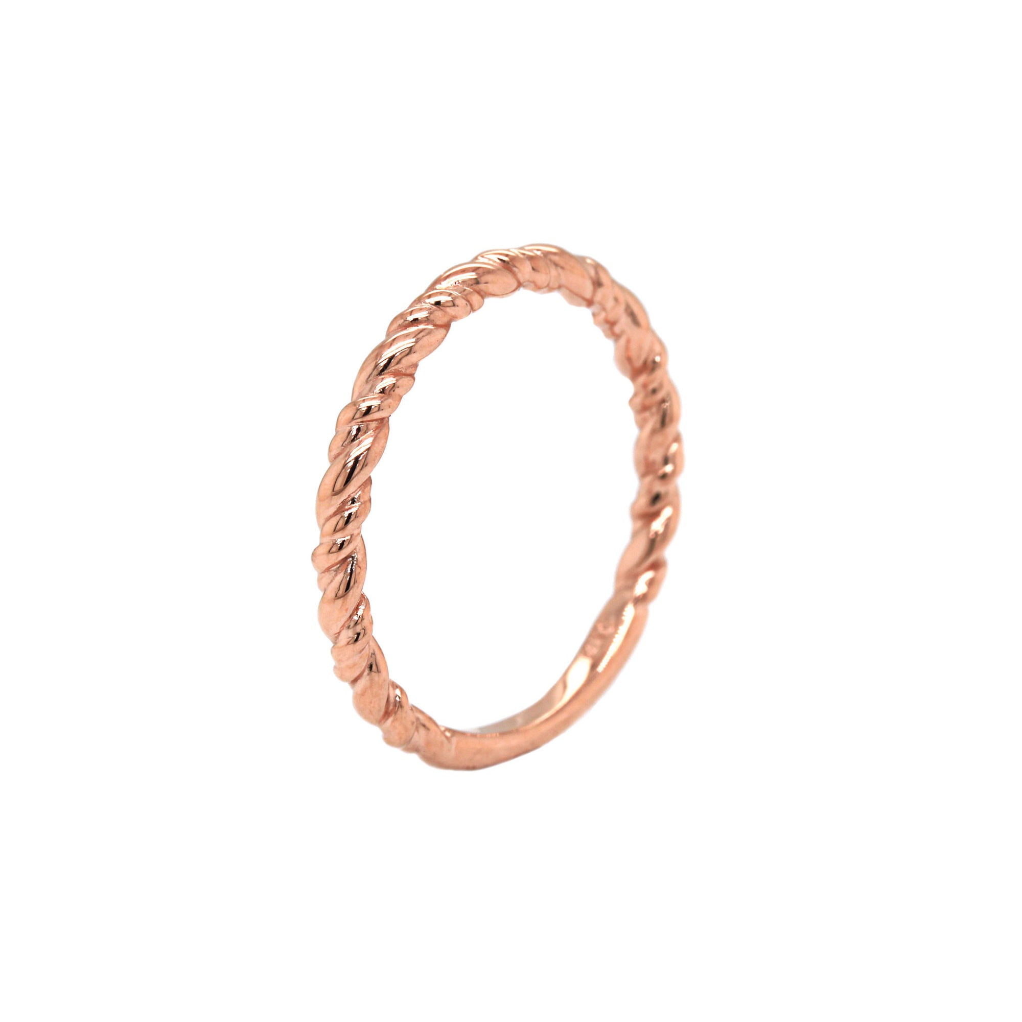 Stackable Rope Rose Gold Band