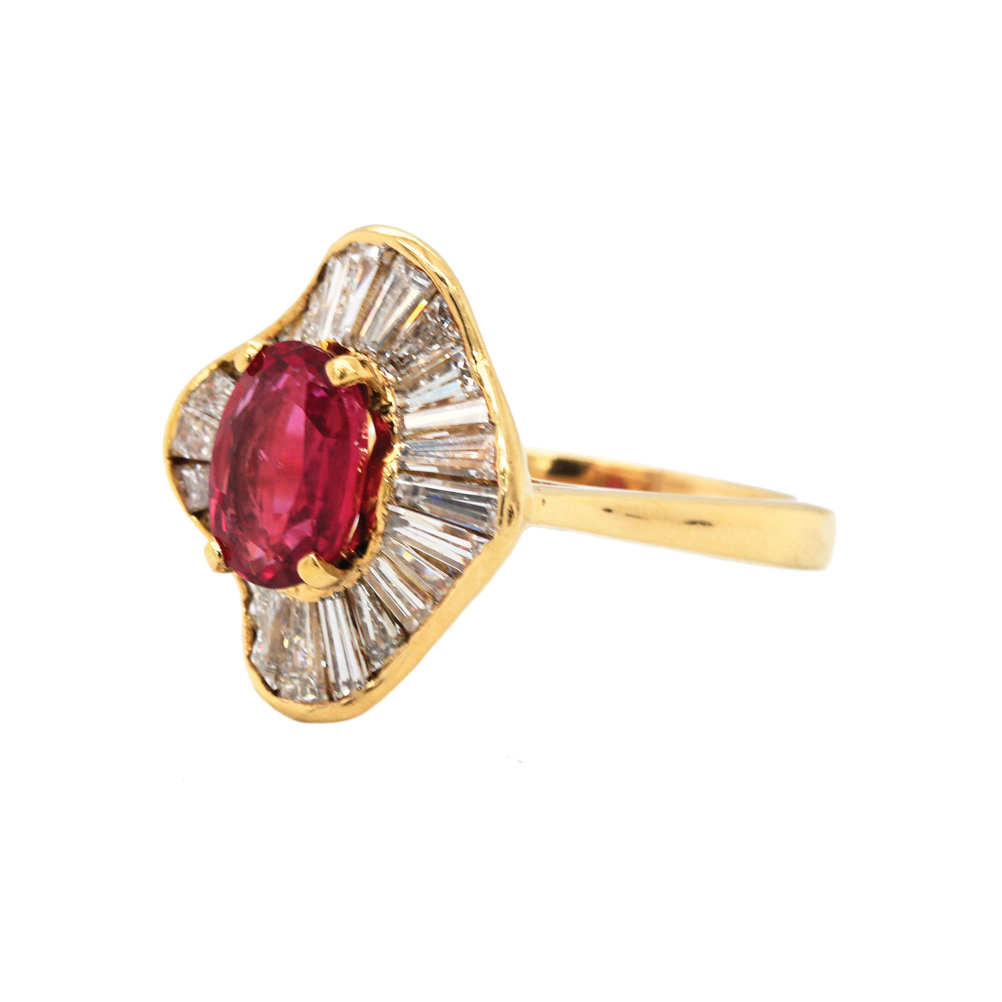 Oval Ruby & Diamond Halo 18K Cocktail Ring