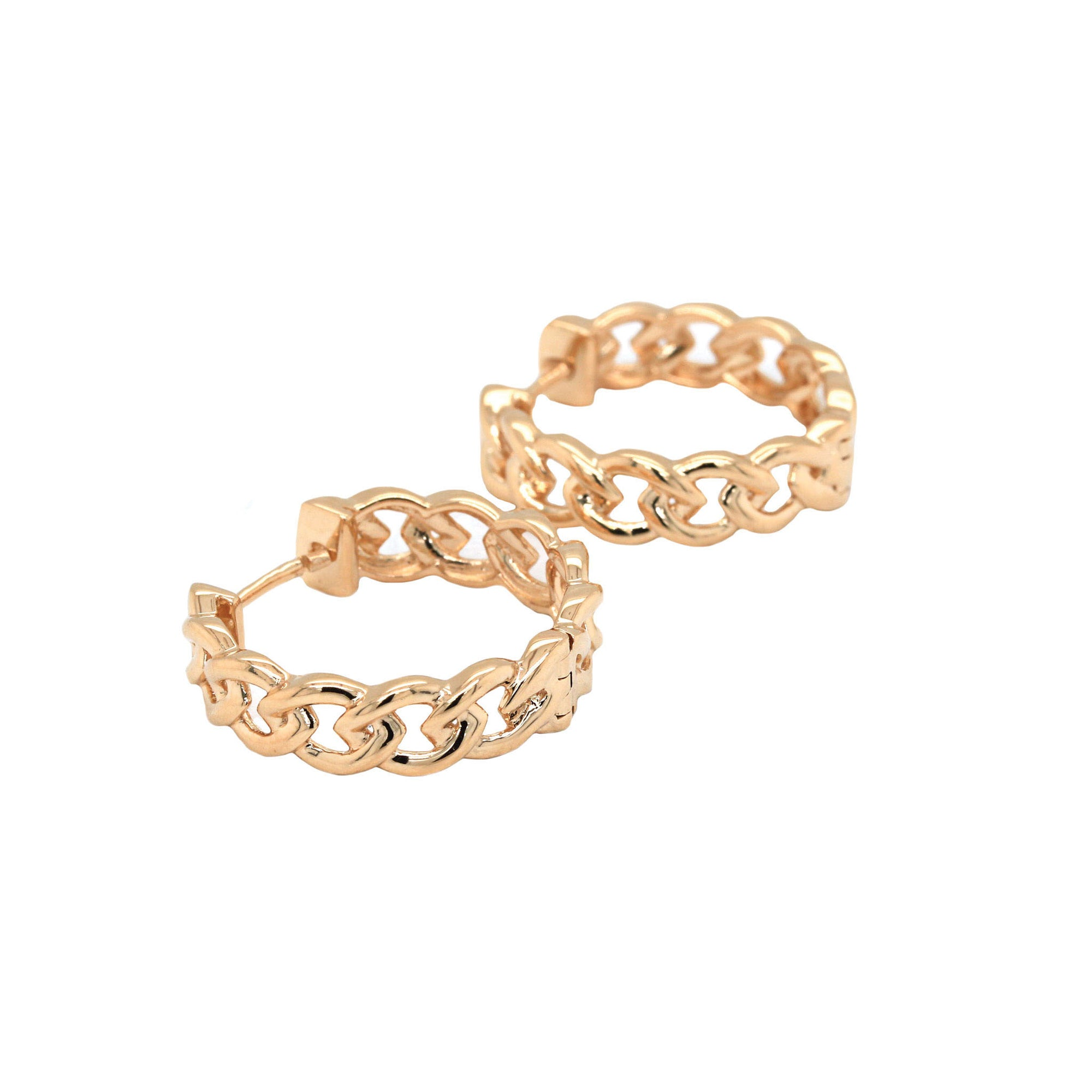 Chain Link Gold Hoop Earrings