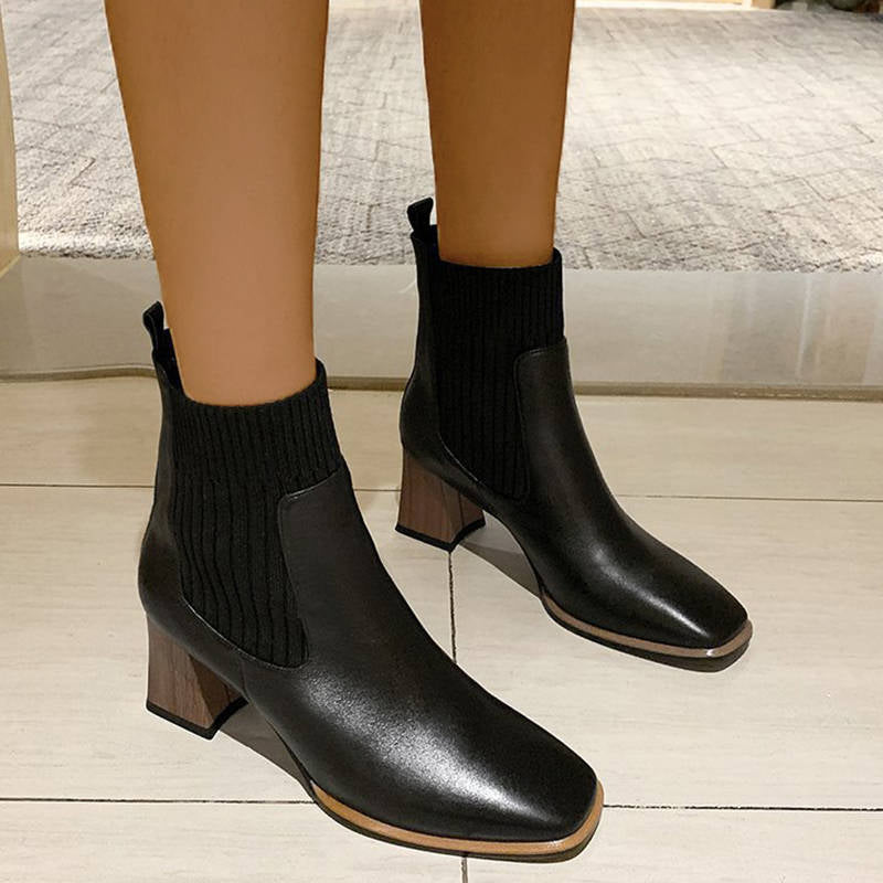 Women Stylish Knitting Square Toe Chunky Heel Sock Clelsea Boots