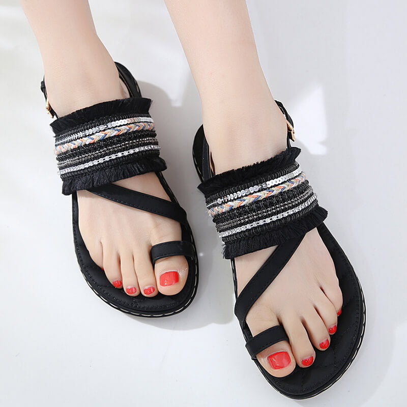 Women Large Size Beach Bohemia Tassel Buckle Flat Sandals
