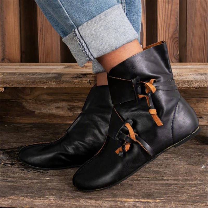 Women Retro Cool Slip On Flat Heel Medieval Boots