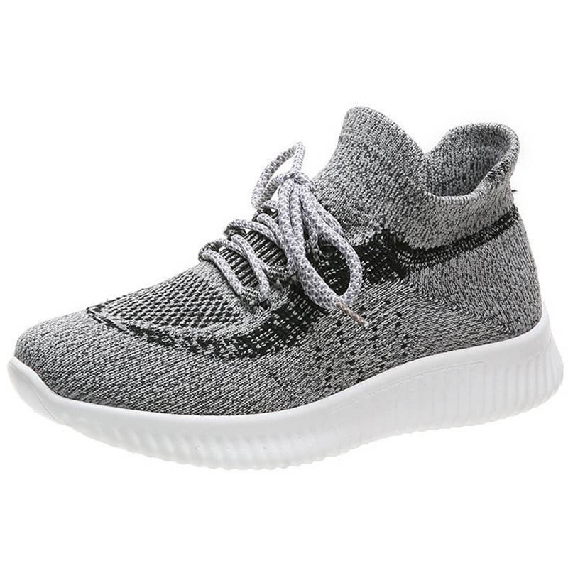 Women Athletic Flyknit Fabric Breathable Hit Colors Slip On Sneakers