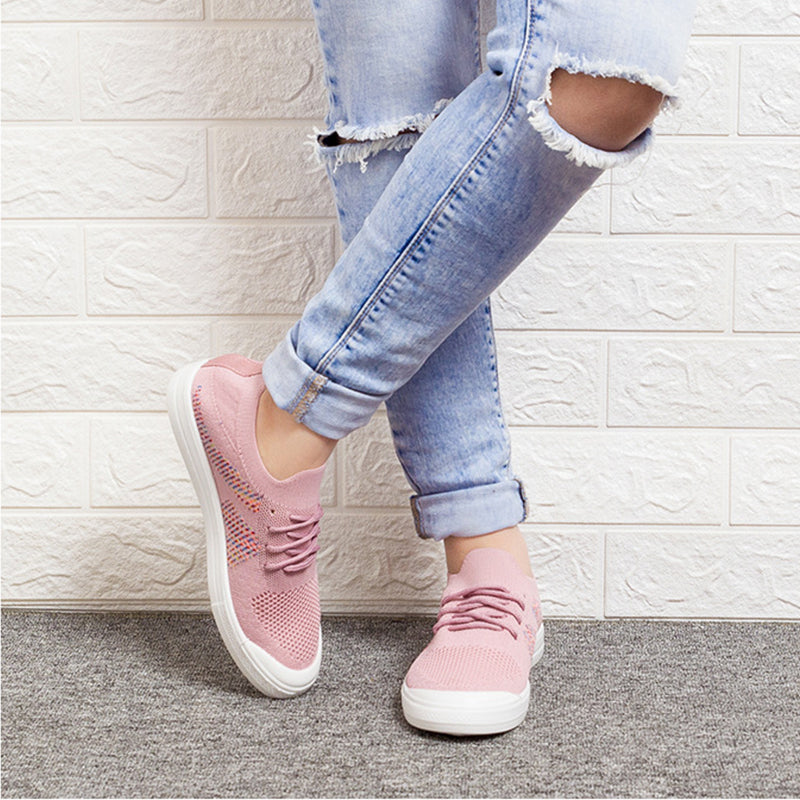Women Casual Breathable Flat Heel Lace Up Sneakers