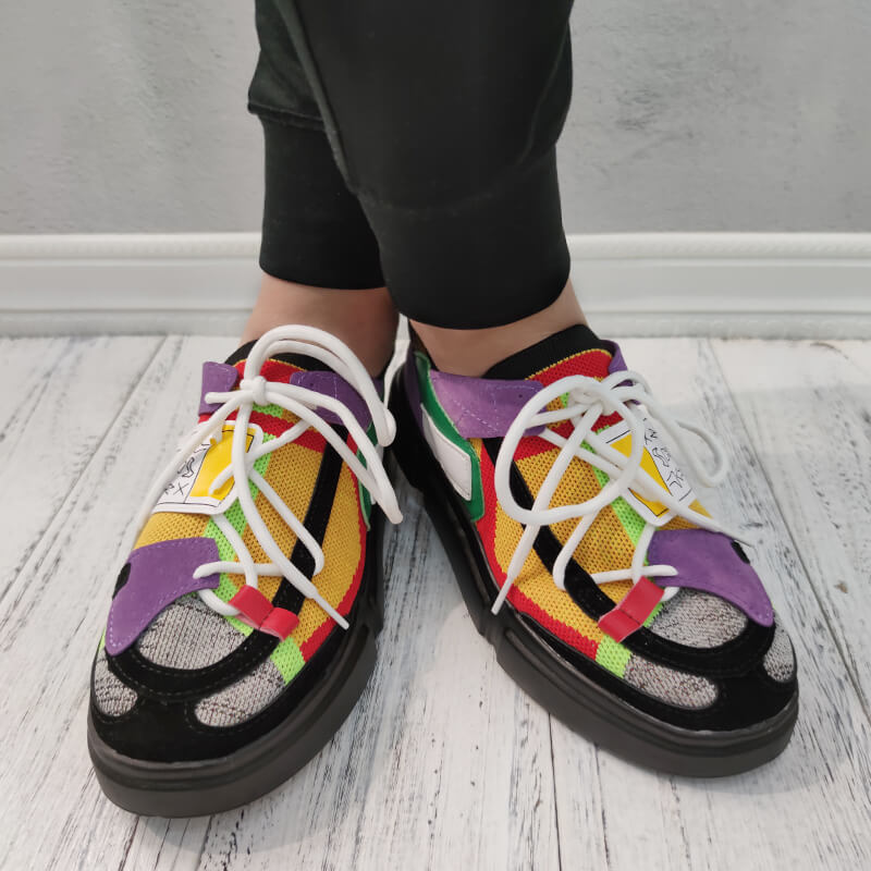 Women Athletic Hit Color Slip On Platform Sneakers