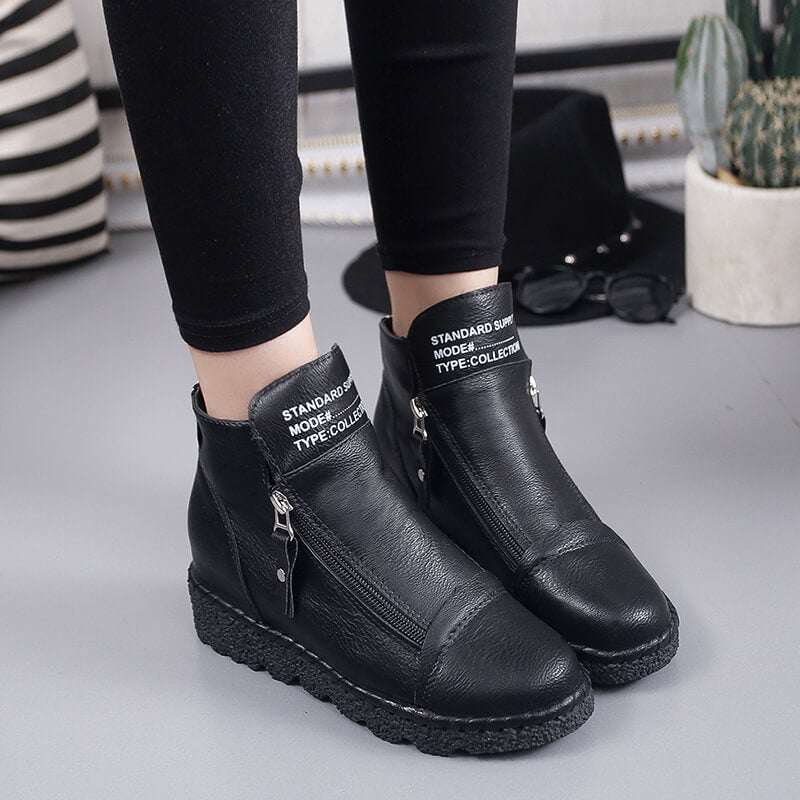 Women Casaul Durable Zipper Platform Boots With Alphabet