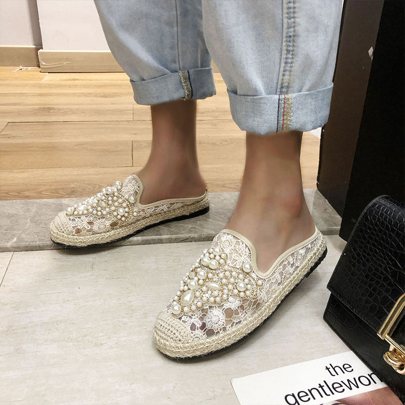 Women Fashion Lace Pearl Slip On Espadrille Flat Loafers