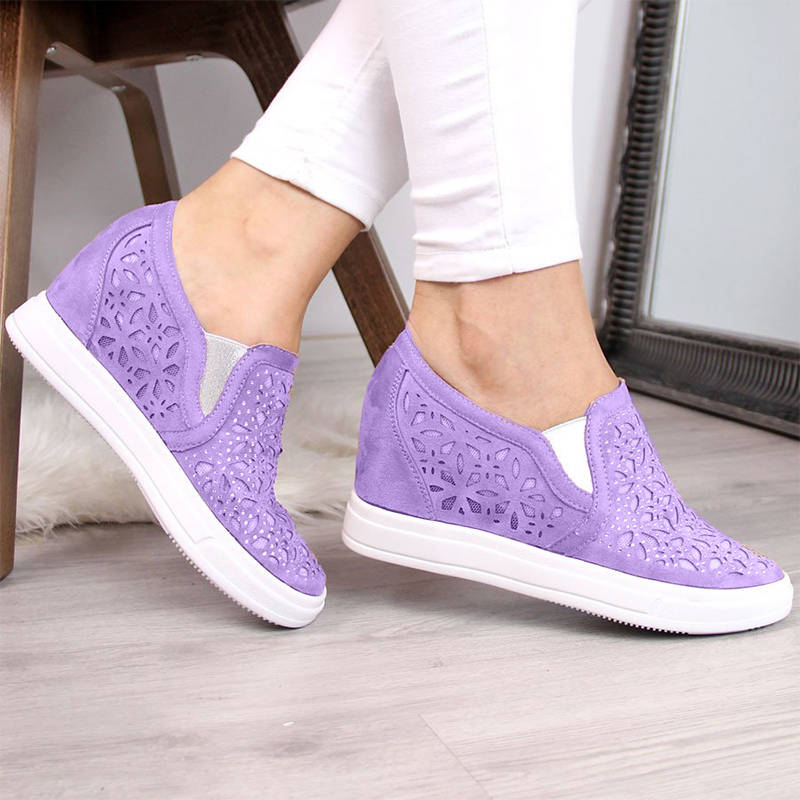 Women Paillette Hollow-out Uppers Inner Height Wedge Heel Sneakers