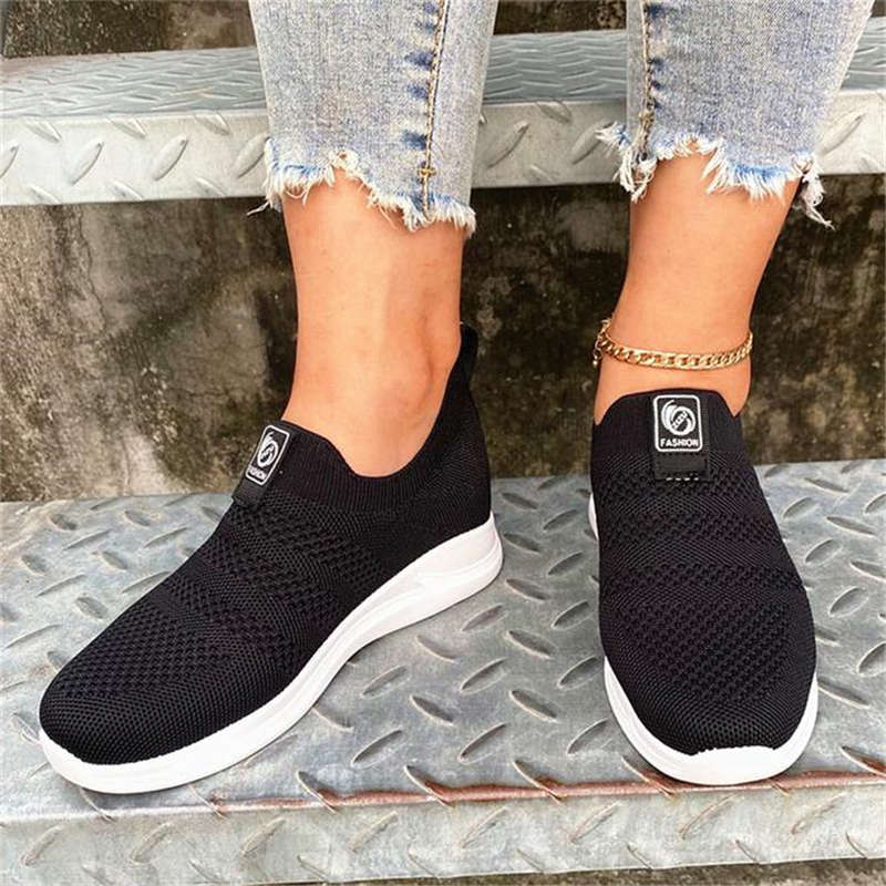 Women Elastic Flyknit Fabric Slip On Breathable Wedge Sneakers