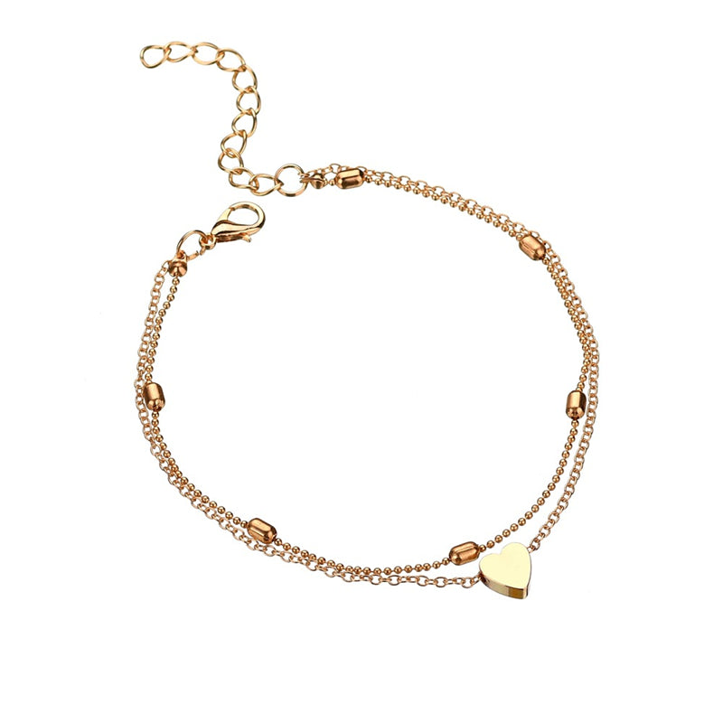 Women Simple Heart Anklet Double Layer Chain Sexy Foot Anklet