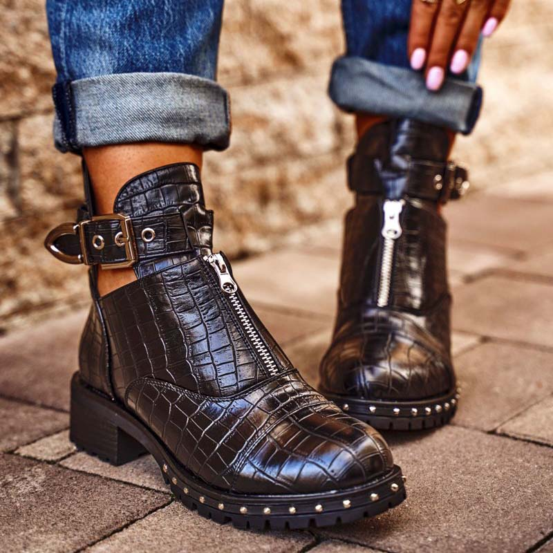 Women Trendy Rivet Crocodile Pattern Buckle Zipper Boots