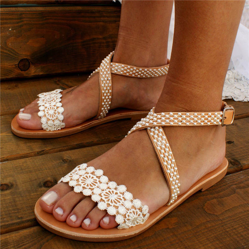 Women Wedding Pearl Lace Open Toe Buckle Strap Flat Heel Sandals