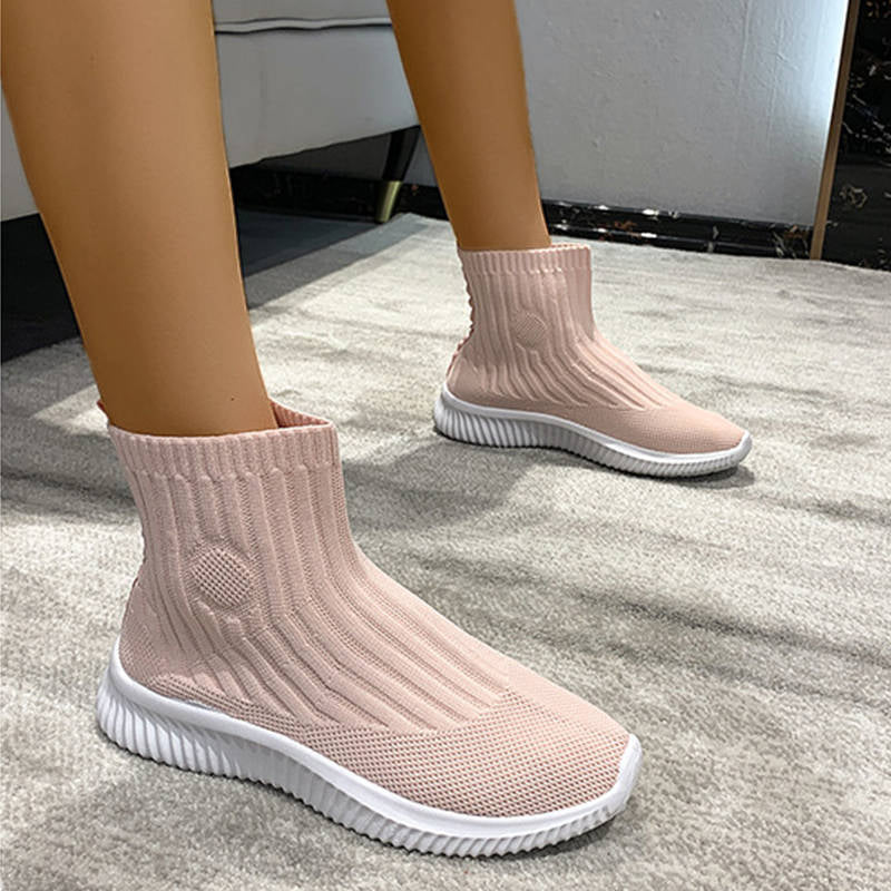 Women Outdoor Flyknit Fabric Comfy High Top Slip On Sneakers