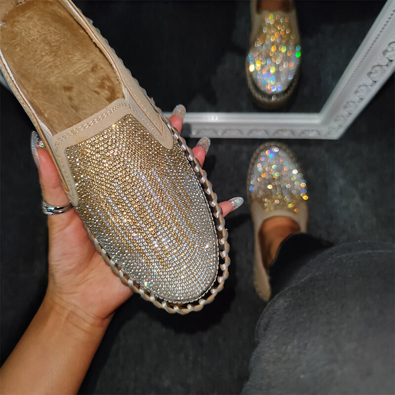 Women Chic Color-block Shining Rhinestone Slip-on Loafers