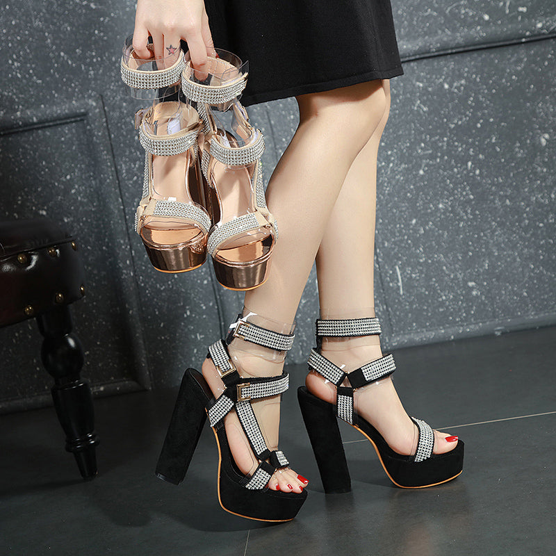 Women Fashion Rhinestone Magic Tape Platform Heel Sandals