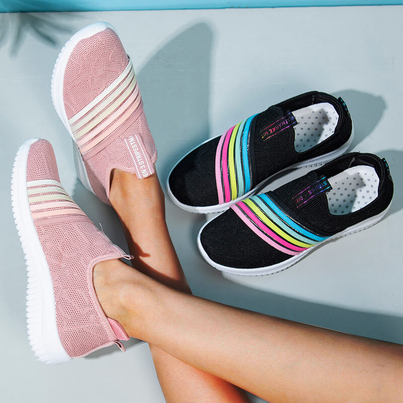 Women Athletic Mesh Rainbow Bar Slip On Flat Heel Sneakers