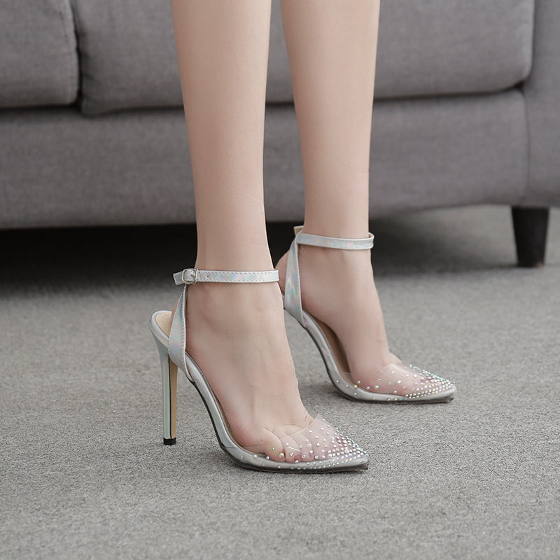 Women Fashion Rhinestone Buckle Stiletto Heel Sandals