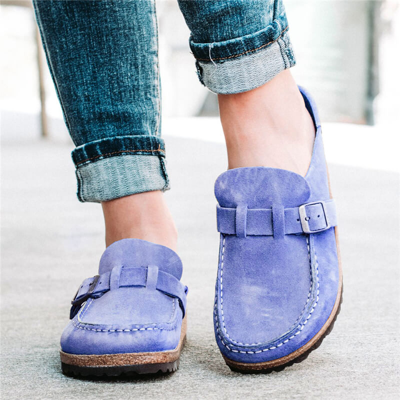 Women Suede Buckle Decoration Slip On Flat Heel Footbed Slippers