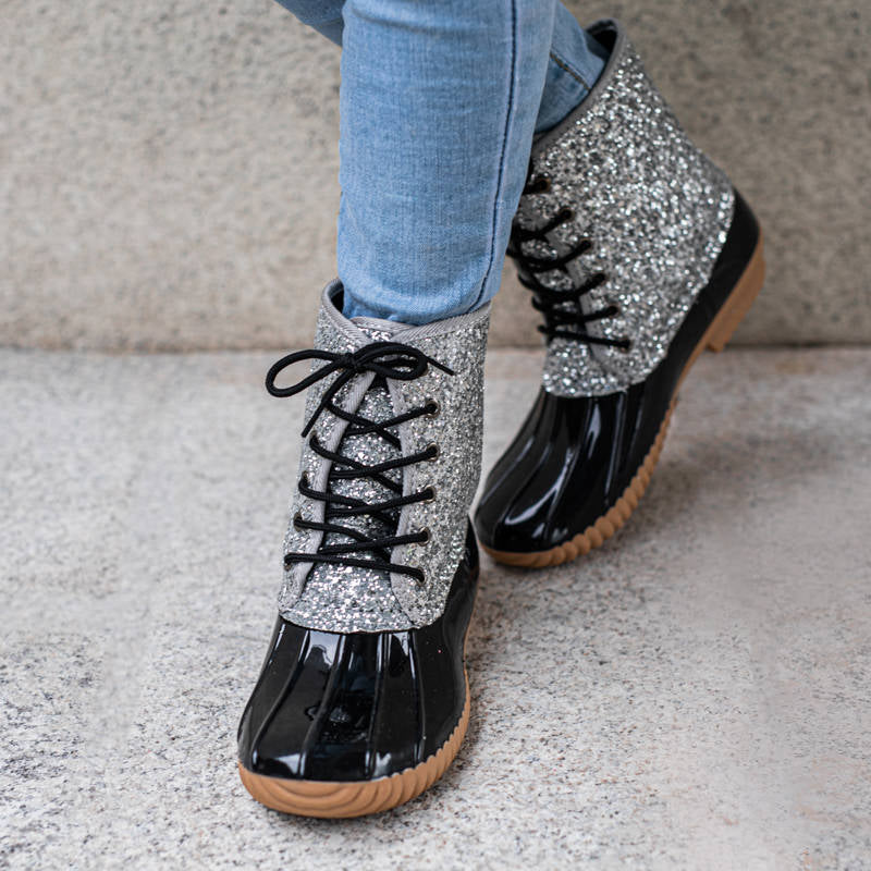 Women Casual Lace-up Sparkling Glitter Rain Boots