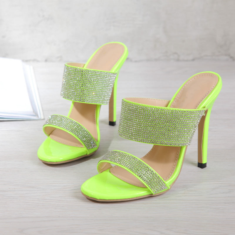 Women Fashion Rhinestone Slip On Stiletto Heell Sandals