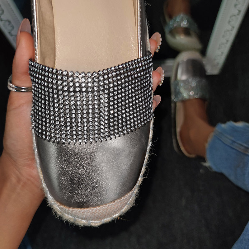 Woman Fashion Solid Color Rhinestone Loafers