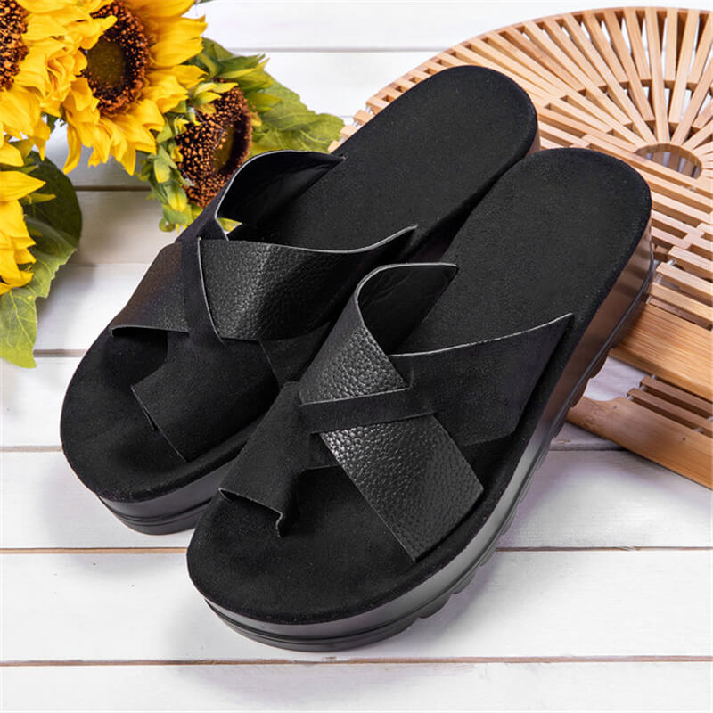 Women Hit Color Cross-strap Thongs Slip On Creepers Platform Slippers