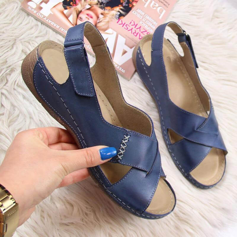 Women Large Size Casual Cross-Strap Magic Tape Sandals