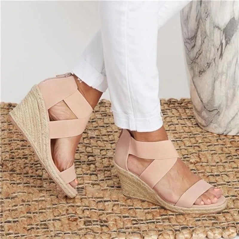 Women Summer Round Toe Wedge Heel Casual Sandals