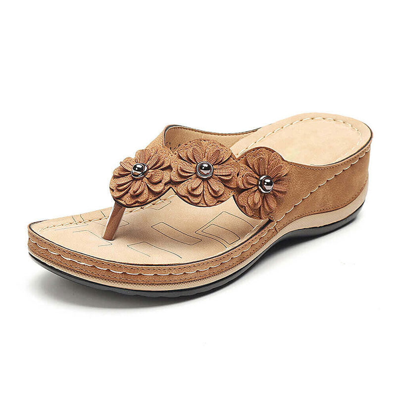 Women Summer Large Size Retro Flower Comfy Wedge Sandals