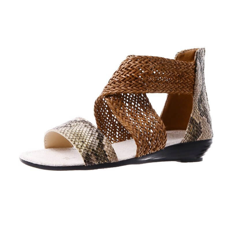 Women Braided Snakeskin Zipper Open Toe Flat Heel Sandals