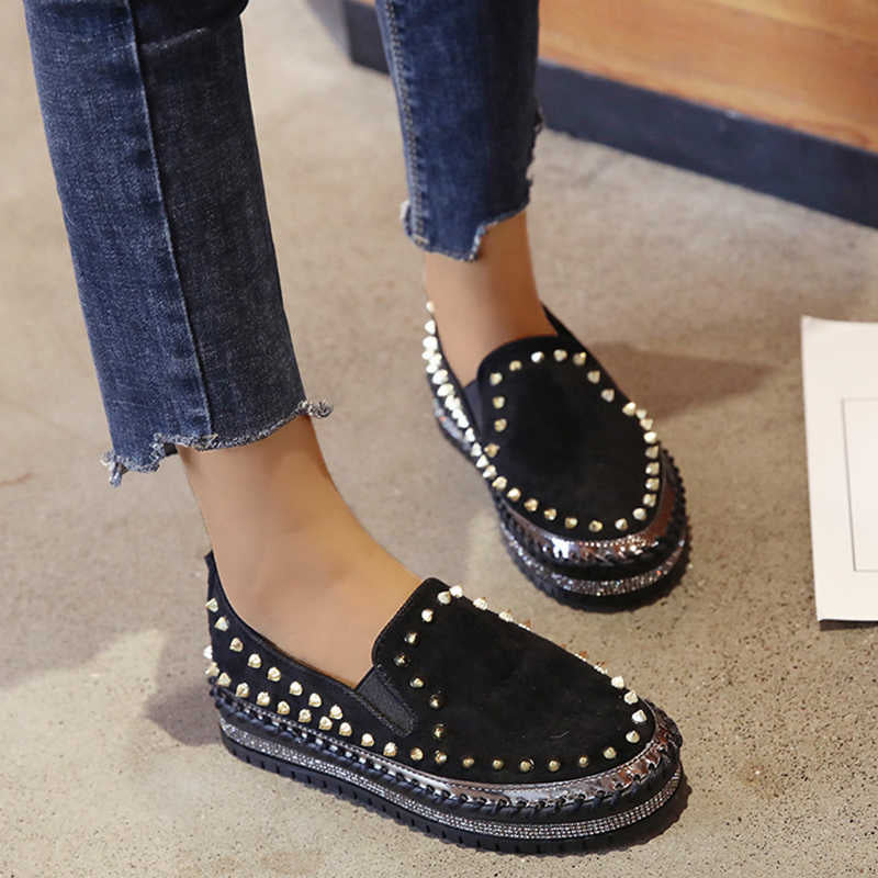 Women Chic Artificial Suede Rivet Platform Slip On  Cotton Shoes