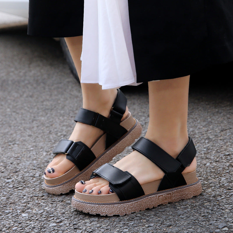 Women Fashion Roman Cowhide leather Flat Heel Magic Tape Sandals