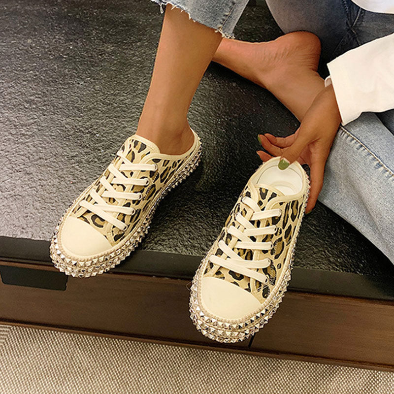 Women Fashion Plus Size Canvas Leopard Rivets Slippers
