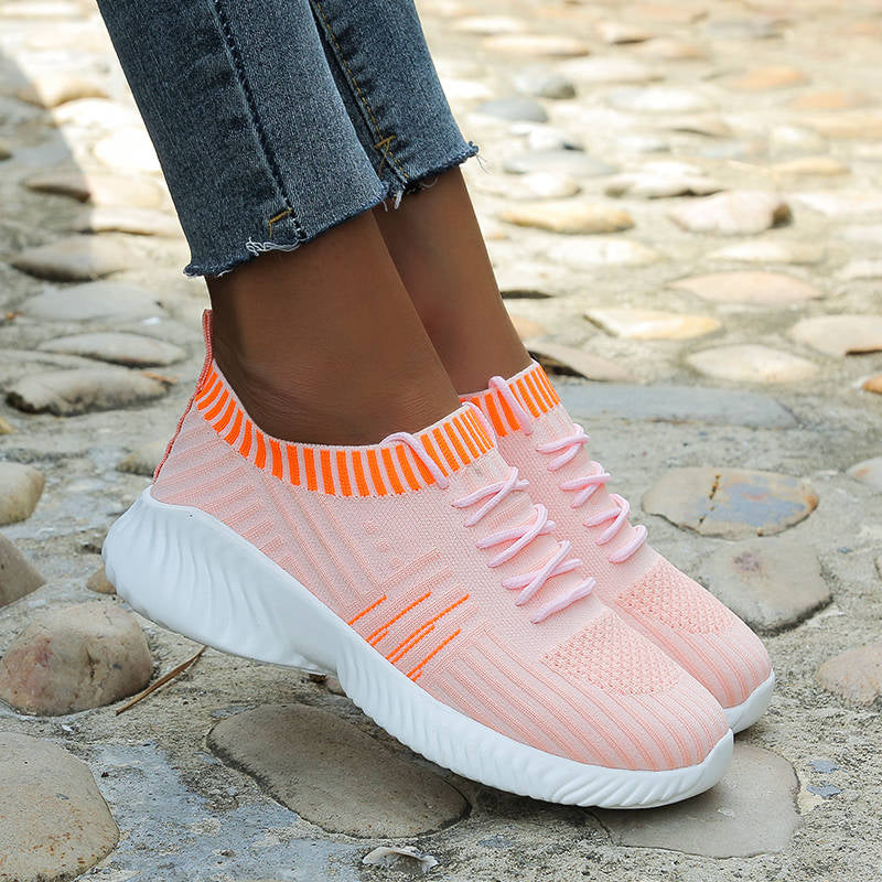 Women Sporty Flyknit Fabric Mixed Colors Lace Up Breathable Platform Sneakers