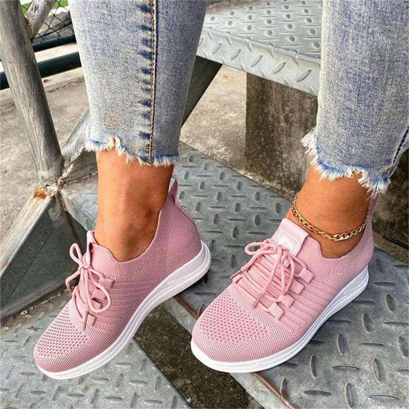 Women Simple Flyknit Fabric Lace Up Breathable Wedge Heel Sneakers