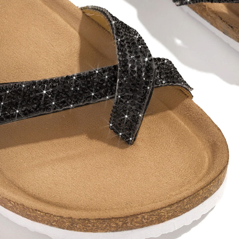 Women Casual Rhinestones Thongs Slip On Flat Heel Slippers