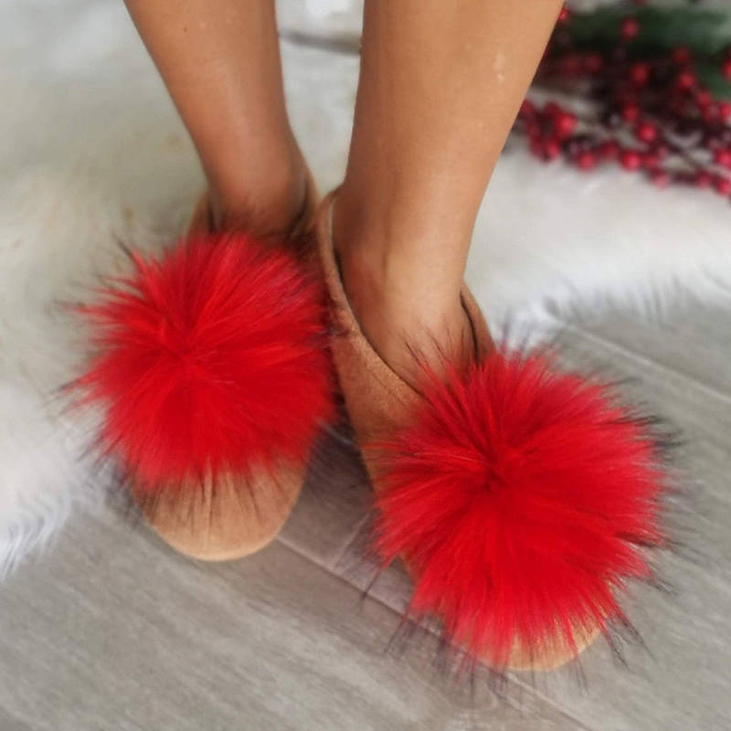 Women Adorable Faux Fur Slip On Inner Fur Flats Loafers