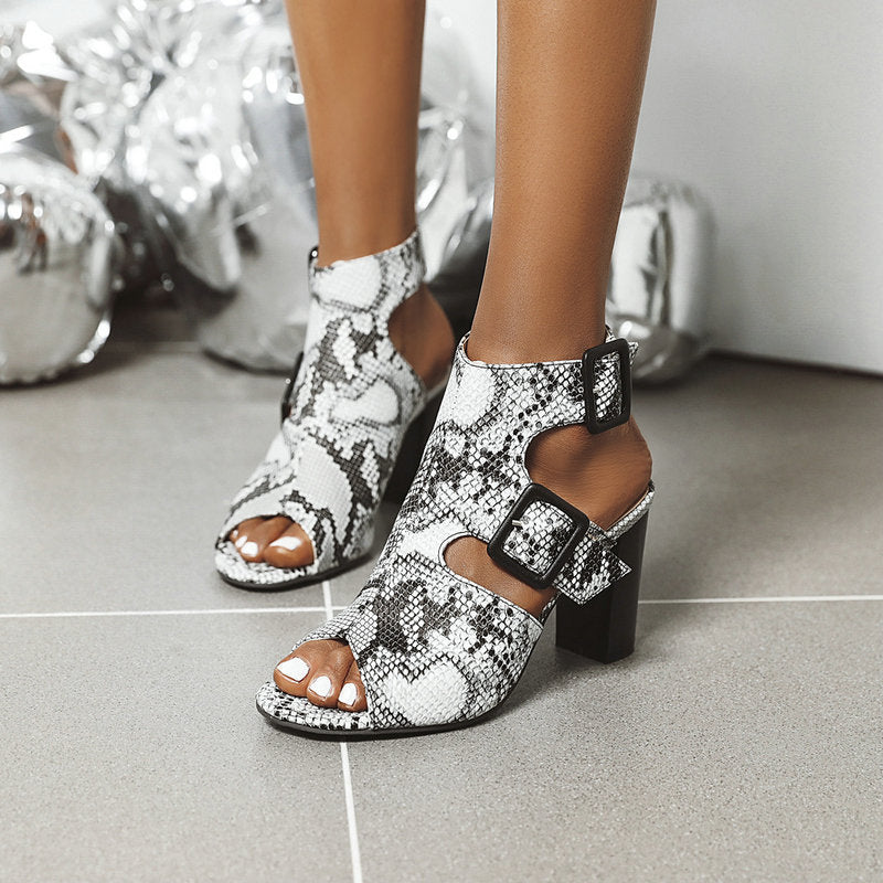Women Fashion SnakeSkin Peep Toe Wedge Heel Sandals