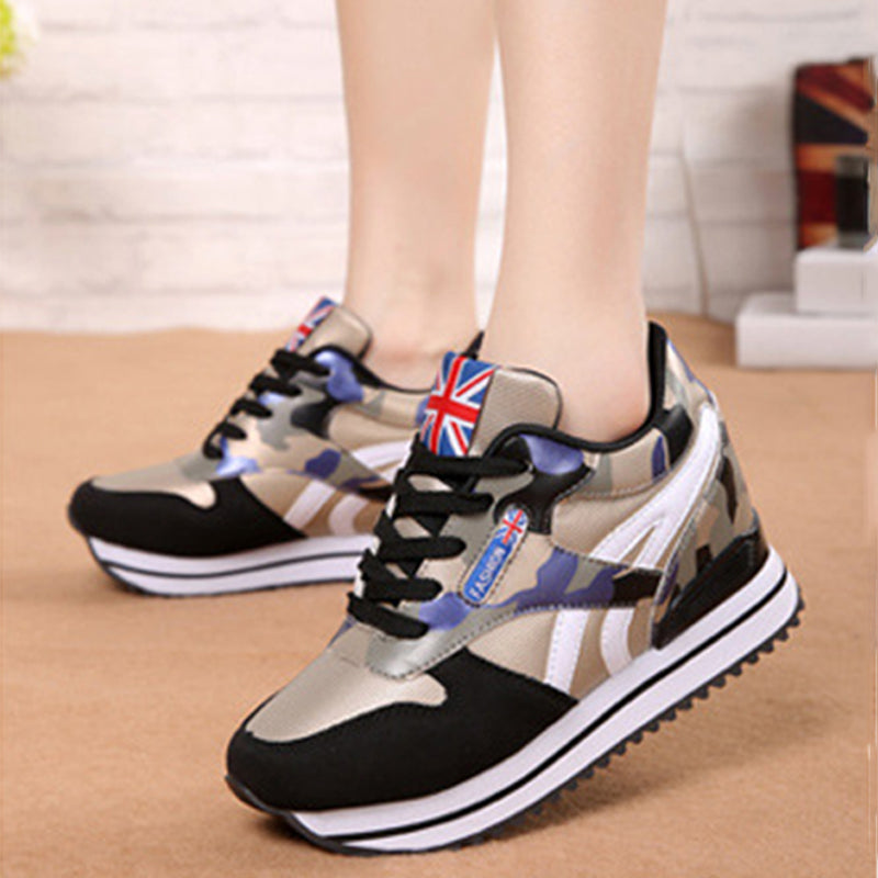 Women Fashion Inner Height Increasing Lace Up Sneakers