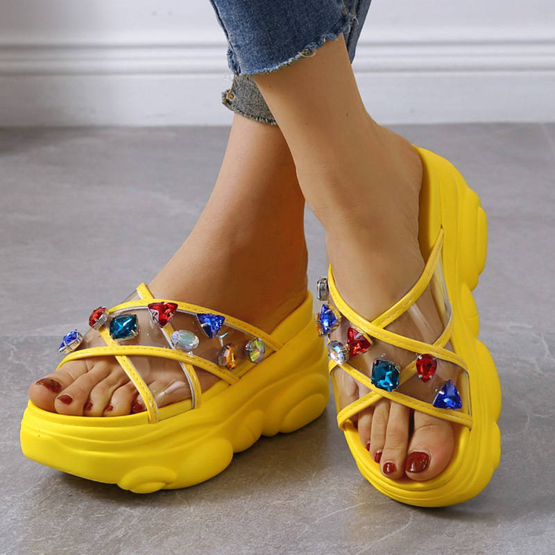 Women Trendy Colorful Rhinestones Open Toe Slip On Platform Muffin Slippers